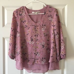 LC Lauren Conrad 3/4 Length Sleeve Floral Top
